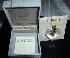 "LALIQUE CRYSTAL LARGE  HEART NECKLACE & 18"" GOLD  CHAIN STUNNING  -INVESTMENT"