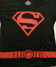 New With Tags Women's Hot Topic Superboy Black V Neck T Shirt Size 2XL XXL