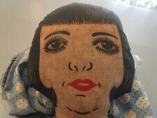 Antique Rare Folkart Rag Doll Head(Oil Paint Face?) Clothespin Holder Doll
