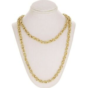 """14k Yellow Gold Turkish Link Chain Necklace 25"""" 5mm 47 grams"""