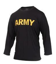 NEW US ARMY ISSUE LONG SLEEVE PT SHIRT ATHLETES T-SHIRT LARGE BLACK/GOLD UNIFORM