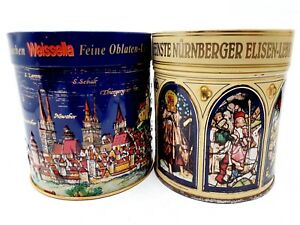 Pair of German Nurnberg Collectible Decorative Tins Blue & Cream Canisters