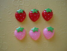 20 Mini Pink & Red Strawberry Resin Flatback Craft Button/bead/embellishment B3