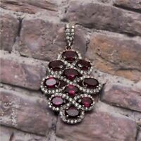 Rhodolite Garnet White Topaz Sterling Silver 925 Wedding Women Pendant