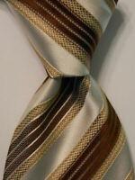 BRIONI Men's 100% Silk Necktie ITALY Luxury Designer STRIPED Brown/Tan/Ivory EUC