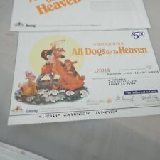 All Dogs Go To Heaven $5 Certificate/Paper Promo 1990 Downy Mgm/Ua Mellon Bank