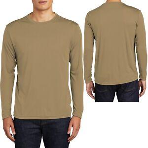 Mens Long Sleeve T-Shirt Base Layer Moisture Wicking XS S M L XL-4XL Workout Tee