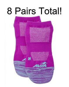 8 PAIRS Purple Avia Women's Microfiber Lightweight No Show Sock Shoe Size 4-10