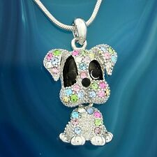 Dog W Swarovski Crystal Puppy Pet Multi Color Necklace Movable Pendant Jewelry