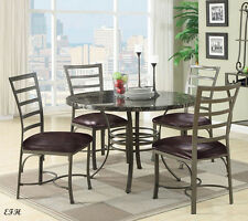 5Pc Deerfield Ii Black Faux Marble Top Dark Gray Metal Round Dining Table Set