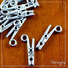 Clothespeg charms ~PACK of 10~ antique silver clothes peg pin craft laundry 3D