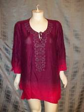 Size 4X Catherines purple & pink W/beads 3/4 sleeve top