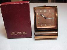 Vintage Le Coultre Art Deco Copper Plated Folding Travel Alarm Clock - Works-box
