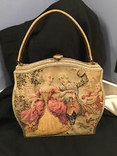 French Tapestry Purse Vintage Quilted Courting Couple