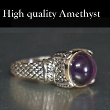 Ring Solitaire Sterling Silver 925 Amethyst Gemstone Genuine Handmade