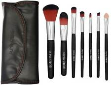 Cosmetic Makeup Brush Set - 7 Piece Set with PU Leather Storage Pouch - Black