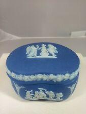 "New ListingWedgwood Cobalt Blue Jasperware Dipped Kidney Box ""Made In England"""