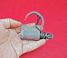 Old Vintage Beautiful Round Shape Handmade Screw Type Iron Padlock With Key S4