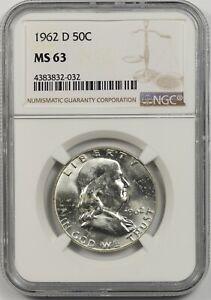 1962-D 50C NGC MS 63 Franklin Half Dollar
