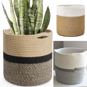 Woven Rope Plant Basket Holder Flower Pot Planter Home Organization Storage Bin