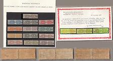 1914-22 Italia Regno Pacchi Postali  Nodi Sabaudi 13 v. Certificato MNH** Lusso