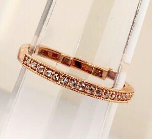 14k Rose Pink Gold CZ Cubic Zirconia Wedding Stack Anniversary Ring Band