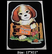 "1975 VINTAGE BLACKLIGHT POSTER ""BEWARE OF DOG"" VERY RARE AA SALES ANIMAL PINUP"
