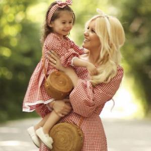 Mutter und Tochter niedlichen Frühling 2021 Kleid Schachbrett Family matching