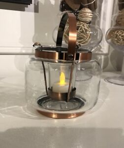 YANKEE CANDLE Bands Collection Lantern Votive Candle Holder Copper Industrial