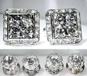 BLACK DIAMOND SQUARE CUFFLINKS & ROUND STUDS TUXEDO SET W/SWAROVSKI CRYSTALS