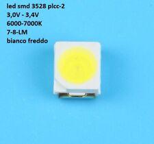 100 Led smd 3528 Plcc-2 Bianco Freddo ad alta luminosità 6000-7000K 7-8 LM