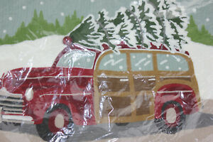 Pottery Barn Woody Car Wagon Crewel Embroidered Lumbar Pillow Cover New!