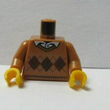 Lego 1 Body Torso For Minifigure Figure Brown Tan Argyle Jumper Sweater Shirt