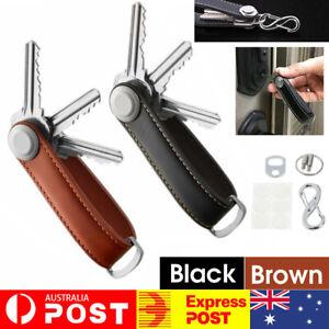 Men Genuine Leather Smart Key Holder Organizer Clip Compact Folder Keychain