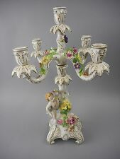 Antique Dresden China Candelabra with Cherubs & Flowers Carl Thieme/Potschappel