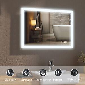 LED Illuminated Bathroom Mirror with Bluetooth Speaker Demister Pad Touch Sensor