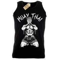 MUAY THAI Mens Tank Top SCREEN PRINTED MMA Vest Kick Boxing Training top