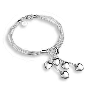 """925 Hearts Charm Bracelet Sterling Silver Plated 5 Strand Adjustable 18cm 7""""+Bag"""