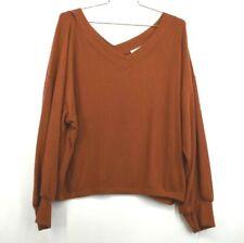 Abound Womens V Neck Sweater Brown Spice Long Sleeve Lo Hi Hem Wide Shoulder XL