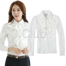 Fashion Women Ladies Long Sleeve Loose Blouse frill Ruffle Collar Shirt Tops USA