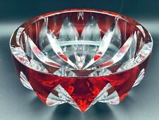 Saint- Louis Crystal (France) Red Cut-To-Clear Bowl, Hand Blown, Thick