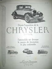 PUBLICITE DE PRESSE CHRYSLER IMPERIAL AUTOMOBILE LA PLUS CONFORTABLE AD 1926