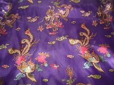 "BTYd Purple Kimono Satin Fabric Dragons & Stylized Rooster/Game Cock 58"" wide"