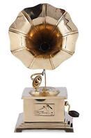 Indian Handmade Gramophone Showpiece Wooden Brass Vintage Style Décor