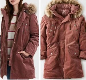 American Eagle Jacket Corduroy Parka Coat Faux Fur Lined Hoodie Mauve Women L NW