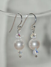 925 Sterling Silver Earrings Made With Swarovski Elements Pearls and Crystals