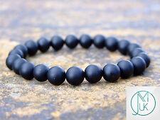 """Black Onyx MATT Naturale Gemstone Bracciale elasticizzato 7-8"""" guarigione chakra"""