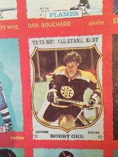 1973 74 OPC DOUBLE BLANK BACK UNCUT SHEET SERIES 1 ~ BOBBY ORR X4 CHECKLISTS!