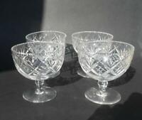 Antique cut glass crystal footed dessert bowls - set of 4 antique dessert bowls