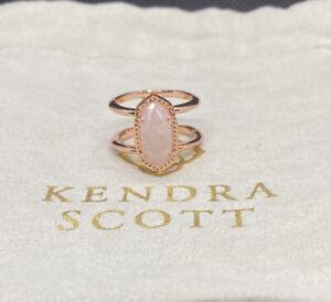 New Kendra Scott Elyse Rose Gold In Rose Quart Sz 7
